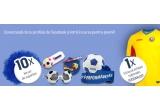 10 x kit de suporter (minge de fotbal + pereche ochelari + bloc notes + fular + memory stick + peruca + pix), 1 x  tricoul original al Echipei Nationale de Fotbal