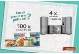 4 x voucher 1200 ron pentru electrocasnice din Carrefour, 100 x voucher de 50 ron pentru produse Edenia
