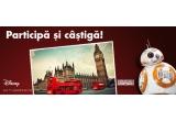 """1 x excursie la Londra pentru 2 persoane + 2 bilete de intrare la Madame Tussauds + card de cumparaturi de 1000 euro la magazinul Disney din UK + 2000 ron, 8 x set surpriza format din Laser Kylo Ren + jucarie Lego set Rey""""s Speeder, 1 x poza cu dedicatie Star Wars"""