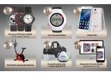 5 x Phablet Woo, 3 x Bicicleta DHS de antrenament, 5 x Ceas Geonaute Rhytm, 5 x set ceasuri WTI pentru barbati (un set contine 3 ceasuri), 3 x set geanta voiaj adidas + minge fotbal KIPSTA, 25 x Abonament 3 luni la Gazeta Digitala