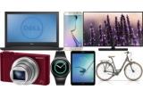 1 x 100.000 de lei, 8 x aparat foto Sony WX500, 1 x voucher eMAG in valoare de 1.000 de lei, 8 x bicicleta Cross Citerra Low Step 28″, 8 x tableta Samsung Galaxy Tab S2, 8 x televizor Smart TV Samsung 48″, 8 x smartwatch Samsung Gear S2, 8 x laptop Dell 3542, 8 x smartphone Samsung Galaxy S6 Edge, 300.000 x pachet de țigarete Pall Mall sau bricheta de colectie