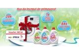 84 x produs Savex lichid de 1.3L, 20 x voucher miniPRIX in valoare de 100 lei, 1 x masina de spalat rufe Samsung Eco Bubble i