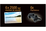 6 x voucher turistic de 2500 euro, 6 x PlayStation 4 Ultimate Player Edition