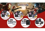 1 x notebook + T-shirt + invitatie dubla la filmul Captain America - Razboi Civil, 1 x T-shirt + headphones + invitatie dubla la filmul Captain America - Razboi Civil, 1 x T-shirt + laptop case + invitatie dubla la filmul Captain America - Razboi Civil, 1 x headphones + USB, 1 x headphones + hoodie, 1 x backpack + wireless speaker
