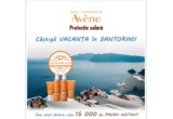 1 x vacanta in Santorini pentru 2 persoane, 500 x prosop de baie, 1500 x geanta de plaja, 8000 x apa termala Avène, 500 x halat de baie pentru copii, 500 x stick SPF 30, 4000 x lapte copii SPF 50 + 2x300ml