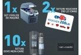 1 x 2 frigidere pentru masina, 2 x 2 vouchere eMAG de 200 lei, 10 x set cu produse cosmetice Dove Men+Care