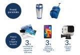 4.000 x cana termos, 1.200 x geanta de voiaj, 3 x voucher de calatorie de 500 euro, 3 x camera video sport iUni Dare 55i + sport Kit, 3 x tableta Samsung TAB 4 T230 Galaxy Tab4