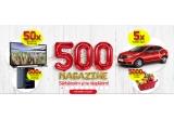 5.000 x voucher de cumparaturi de 50 ron, 500 x Smarthphone Allview P8 energy mini, 50 x Smart TV Samsung, 5 x masina Dacia Logan