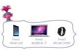 1 x Laptop Apple MacBook Air, 1 x iPad Air 2, 1 x Watch Sport, 20 x voucher Carrefour de 300 ron