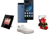 1 x smartphone Huawei P9 Blue, 30 x rama foto digital, 16 x pereche Converse, 60 x kit de Craciun Huawei