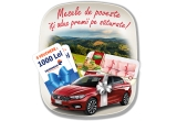 "1 x masina Fiat Tipo, 20 x pachet cu Produse fericite (1 Pui Fericit + 4 caserola x 10 Oua de la Gaini Fericite),  6 x voucher Dedeman de 1.000 lei, 3 x Voucher ""Weekend relaxant 1 Mai"" Hotel 5* Hillton Sibiu + cina romantica + masaj de relaxare"