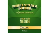 3 x 10.000 euro, 1145 x Presa franceza, 9000 x Pachet de Jacobs Kronung 100 g, 10.000 x Cutie metalica pentru cafea