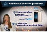 """8 x smartphone ZTE Axon 7 Mini + abonament Digi Mobil Optim Nelimitat gratuit pentru 1 an, 80 x set de produse personalizate """"Jurnalul de Stiinte"""""""