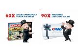 60 x joc Monopoly editie limitata, 90 x voucher discount eMAG de 30% sau 50%