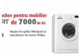 1 x voucher Mobexpert de 7000 ron, 7 x masina de spalat Whirpool, 28 x Storcator Fructe Philips HR1855/90