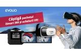 1 x camera de actiune Evolio iSmart360 + pereche de ochelari VR, 1 x voucher de 40% discount la achizitionarea oricarei camere de actiune Evolio, 1 x voucher de 30% discount la achizitionarea oricarei camere de actiune Evolio
