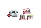 1 x rulota Weinsberg CaraOne 390 QD de 54.000 ron, 2 x card pentru vacanta de 1000 euro, 9 x Kit de camping, 9 x set de trollere Trolley Lamonza Regal
