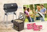 1 x gratar mobil cu carbune și termometru, 1 x coș de picnic pentru 4 persoane, 10 x voucher de cumparaturi Kaufland de 200 ron