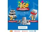 1 x apartament, 3 x mașina Renault Clio 4 Life, 16 x mașina de spalat rufe, 16 x combina frigorifica, 16 x bicicleta, 300.000 x vouchere Carrefour de 10 sau 5 ron