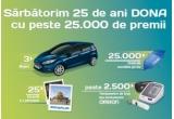 3 x mașina Ford Fiesta Trend, 25 xexcursie la Ierusalim pentru 2 persoane, 2.000 x tensiometru de braț Omron M3, 1.000 x termometru digital Omron Gentle Temp 520, 25.000 x umbrela personalizata Farmaciile DONA