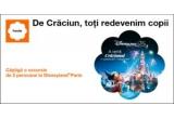 10 x 2 bilete de acces la Disneyland Paris + 2 bilete de avion București – Paris și retur + 2 nopți de cazare la un hotel de minim 3* + transferuri aeroport-hotel și hotel–aeroport in Paris