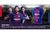 1 x tricou FC Barcelona sezonul 2017-2018 semnat de Messi, Suárez si Coutinho