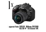 1 x aparat foto DSLR Nikon D5300 Kit AF-P 18-55mm VR s, 5 x boxa portabila Sony SRSXB21W