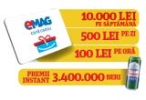 9 x voucher eMAG de 10.000 ron, 63 x voucher eMAG de 500 ron, 756 x voucher eMAG de 100 ron, 3.400.000 x doza de bere Neumarkt 0.5l