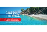 2 x voucher de calatorie de 1200 euro, 20 x aparat foto digital Nikon Coolpix waterproof w100 backpack kit, 50 x masca de snorkeling Easy breath albastra