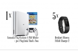 1 x Consola PlayStation 4 PRO White + joc PlayLink That's You, 5 x Bratara fitness Fitbit Charge 2