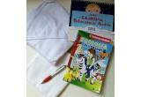 1 x premiu format din: prosop cu gluga din bumbac + scutec textil multifunctional din finet + calendarul bebelusului acvatic + cartea Zoologia in versuri + pix