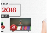 1 x televizor LED Smart LG Ultra HD, 1 x consola Microsoft XBox One Slim + joc Fifa 2018, 10 x minge de fotbal