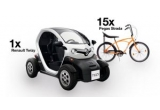 1 x masina electrica Renault Twizy, 15 x bicicleta Pegas Strada