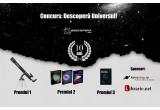 "1 x telescop Omegon AC 70/700 AZ-2, 1 x Trei carti de Carl Sagan, 1 x cartea ""Bun venit in Univers"" de Neil deGrasse Tyson"