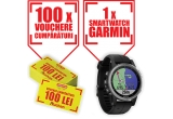 1 x smartwatch Garmin, 100 x Cupon cumparaturi in hipermarketurile Auchan de 100 ron
