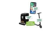 700 x ceașca pentru cafea Fortuna, 15 x umbrela personalizata Fortuna, 10 x cana tip termos Fortuna, 25 x incalzitor USB pentru cana de cafea, 1 x trotineta electrica Ninebot by Segway, 1 x espressor cafea Saeco HD8775/48, 1 x smartphone iPhone X,