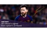 1 x banderola lui Messi de prim capitan a echipei FC Barcelona cu autograful lui