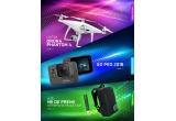 1 x drona Phantom 4, saptamanal: camera video GoPro Hero 2018, instant: pachet de tigarete/ rucsacuri