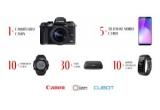1 x aparat foto Canon, 30 x stație conectare Canon, 5 x telefon mobil Cubot, 10 x smartwatch Cubot, 10 x brațara inteligenta Cubot