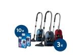 10 x pachet cu saci de schimb pentru 1 an Philips FC8027/01, 3 x aspirator Philips gama Performer Silent