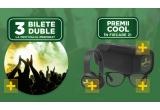 3 x pachet 2 persoane Festival, 61 x voucher pentru achizitia ochelarilor de soare de 400 ron, 61 x pereche de casti, 61 x boxa,