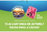 1 x voucher turistic pentru o excursie la Barcelona de 2500 euro, 50 x aparat foto Fuji Instax