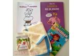 1 x 3 carti pentru copii + scutec multifunctional din 100% bumbac + cutie creioane de colorat