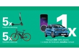 1 x mașina electrica Renault Zoe cu stație de incarcare inclusa JuiceBox, 5 x bicicleta electrica Atala B-Cross, 5 x trotineta electrica Xiaomi, 20000 x lanterna sub foma de bec