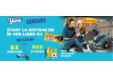 3 x trotineta electrica Razor E300, 50 x kit de distractie compus din rucsac galben personalizat + minge alb cu albastru + bidon sport galben personalizat