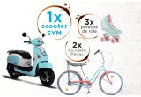 1 x scooter SYM, 2 x bicicleta Pegas Strada 2, 3 x patine cu rotile Rio Roller Script Teal Coral