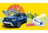 3 x mașina Dacia Duster, 1000 x plin de carburant de 300 lei