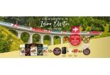 3 x vacanța in Elveția cu cel mai spectaculos tren panoramic din lume, 13 x kit de calatorie de 200 euro, 92 x cutie aniversara plina cu ciocolata fina
