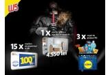 1 x Cupon valoric baie Kika de 4550 lei, 3 x cos cu produse Kika de 150 lei, 15 x voucher Lidl de 1000 lei