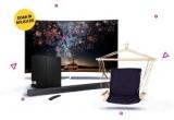 1 x televizor Samsung UE65RU7302 SMART TV LED Curbat 4K Ultra HD 163 cm, 3 x soundbar Samsung HW-R430 Sistem Wireless Dolby Digital 170W Black, 10 x hamac scaun suspendat Heinner YGH020